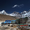 Gorak Shep, the old Everest Base Camp. A shoulder of Kala Patar ('dark earth') spreads across from the left.