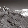 Infra-red view from the Namche-Tengboche trail with the Gokyo Lakes valley entrance to the left and the Tyengboche spur to the right with Everest and Nuptse in the distance.