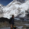 At the top of Kala Patar; 5560m and the last 200m were a bit of an effort. Howling wind and very cold and photography difficult. Everest in the background with the ice-fall just over my head.