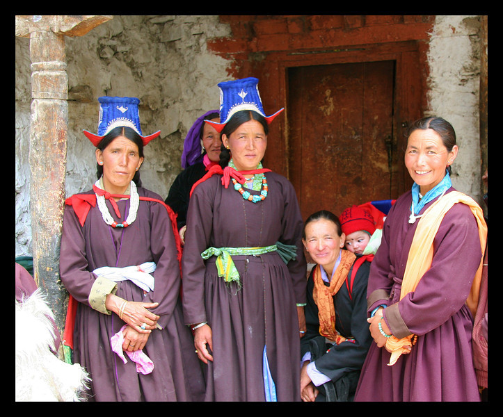 Traditionally dressed women at Rinzong monastery