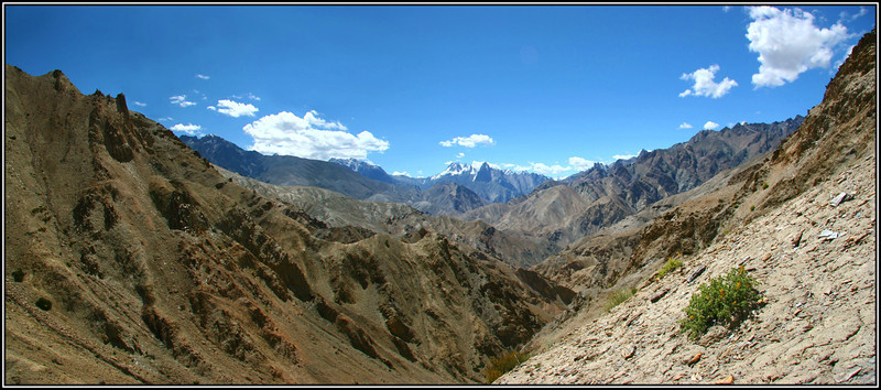 Zanskar region. Soon after leaving Lamayuru monastery you climb up out of the valley and this is the view looking South towards the main Zanskar mountains before you drop down to the Wanla valley.