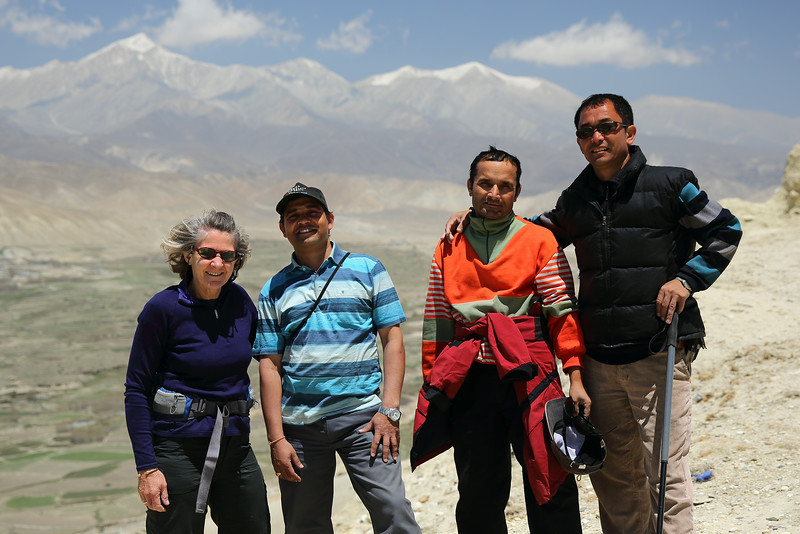 Trekking group at the King's fort. Behind are the mountains to the north-west. L-R; Maggie, Yuba, horse-wrangler, Lama