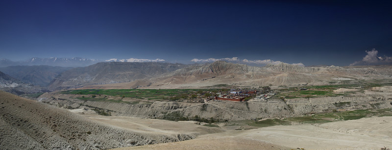 Lo Manthang panorama; this is taken from between the two forts overlooking the city and is looking SSE. Nilgiri is on the right hand end of the mountain range.