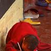 Monastery pupils; no table, no problem !
