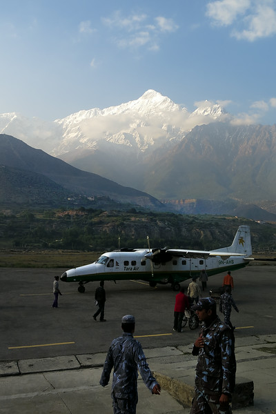 Nilgiri towers over the airstrip at Jomsom