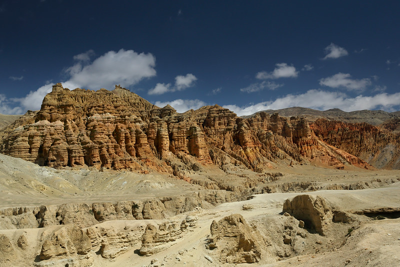 Impressive ochre-coloured bluffs further up the Chosur valley. Man-made caves were visible in some of these cliffs.