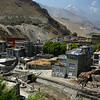 Kagbeni; overlooking the stream from Muktinath. Monastery school to the left and the old quarter on the right. A lot of work was being done to sort out the stream banks and the beginnings of a substantial bridge were going in.