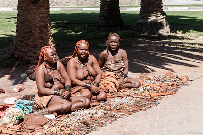 Group of Himba girl with souvenirs for sale in the main marketplace in Svakopmund