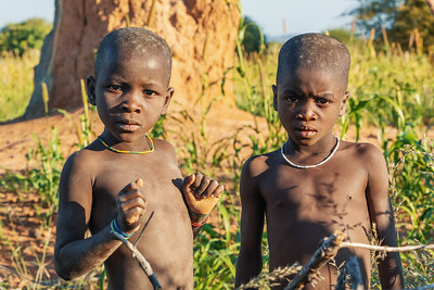 Himba boys, indigenous namibian ethnic people, Africa