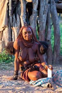 Portrait of middle age himba woman, Namibia Africa