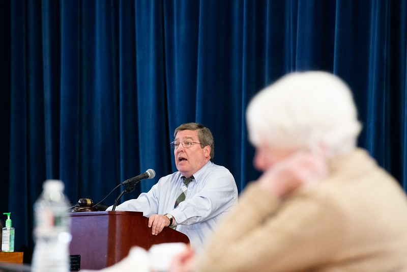 KELLY FLETCHER, REFORMER CORRESPONDNET -- After thirty years, Richard Johnson moderates his last town meeting in Hinsdale on Saturday