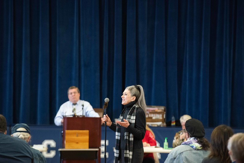 KELLY FLETCHER, REFORMER CORRESPONDENT -- Angela Schill speaks at Hinsdale's Town Meeting in support of provision SB-2 to allow official ballot voting on all issues before the Town of Hinsdale on the 2nd Tuesday of March.
