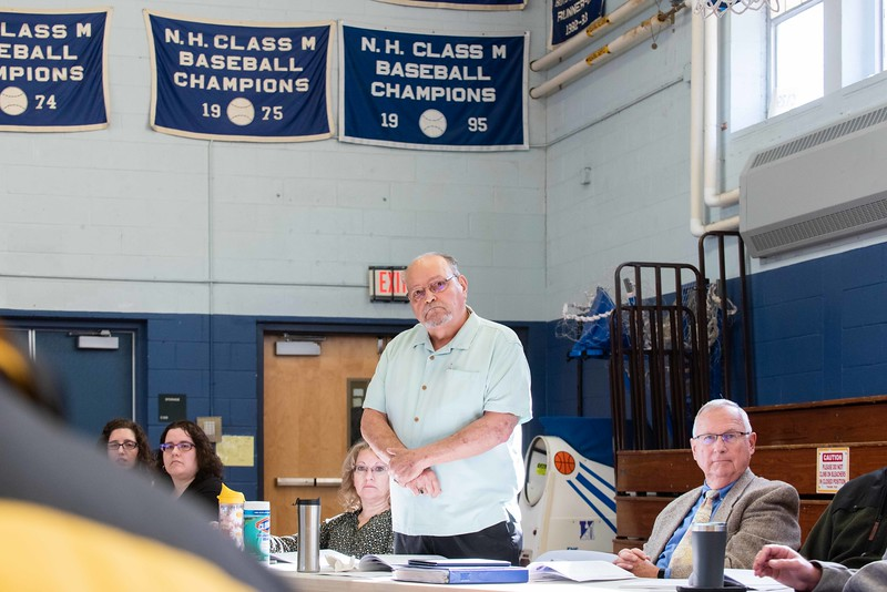 KELLY FLETCHER, REFORMER CORRESPONDENT -- Residents of Hinsdale discuss the fire station building fund during town meeting on Saturday.