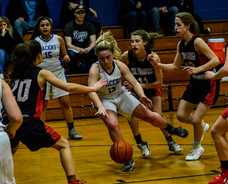 KRISTOPHER RADDER — BRATTLEBORO REFORMER<br /> Hinsdale, N.H., beats Moultonborough, N.H., 57-34, during a playoff girls basketball game at Hinsdale Middle High School on Monday, Feb. 24, 2020.