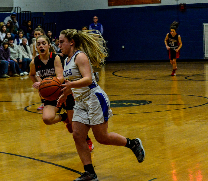 KRISTOPHER RADDER — BRATTLEBORO REFORMER<br /> Hinsdale's Delaney Wilcox dribbles the ball during a playoff girls basketball game at Hinsdale Middle High School on Monday, Feb. 24, 2020.