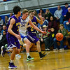KRISTOPHER RADDER — BRATTLEBORO REFORMER<br /> Hinsdale's Dylan Harden gets in the middle of two Nute players while dribbling down the lane during a varsity basketball game at Hinsdale, N.H.,  Middle High School on Friday, Jan. 31, 2020.