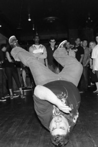 BBoy Adolf held his own in a battle with BBoy Carlos