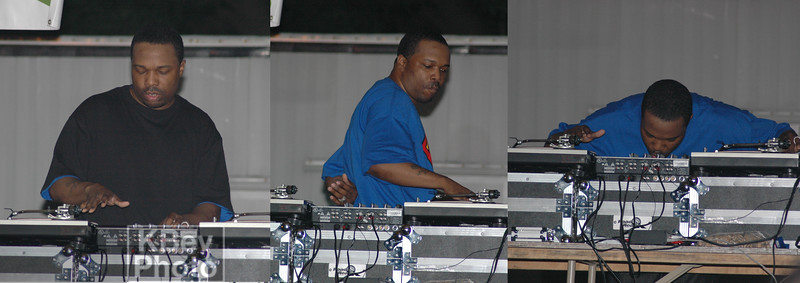 Although he wasn't that live, the DJ did show a few tricks:  he took off the black shirt while scratching, did a few body tricks (360 spins), and even controlled the fader with his chin.