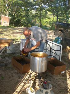 Kevin cooking crawfish