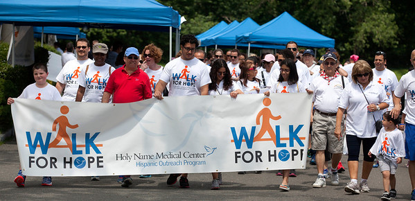 Henry Fernandez-Cos has been organizing Hispanic-community outreach events for Holy Name Medical Center for years. The Walk For Hope is a four-lap stroll around the pond at the James J. Braddock North Hudson County Park in North Bergen. It was designed to raise awareness and get people talking about routine medical tests.<br /> 6/14/14  Photo by Jeff Rhode /Holy Name Medical Center