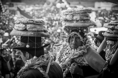 Tarabuco, BOLIVIA.- The President of Bolivia, Evo Morales, with a bread made crown in the party of Tarabuco. March 18 of 2012. Photo: Dany Krom.