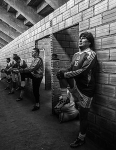 Tiwanaku, Bolivia.- The President of Bolivia, Evo Morales and his soccer team, do calisthenics under the stands of the stadium of Tiwanaku for the opening game. Jan 21 of 2012. Photo: Dany Krom