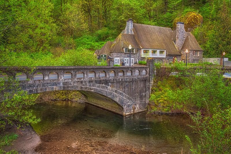 Multnomah Falls Lodge and Historic Columbia River Highway Bridge.