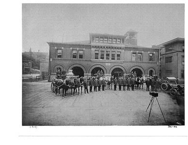 Photoshoot at Seattle Fire Station 1 with Cirkut camera in 1910