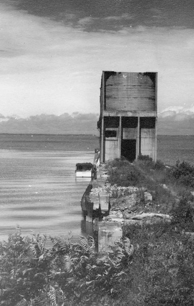 Old water tower on east jetty of Vermilion Harbor, Early 1900s
