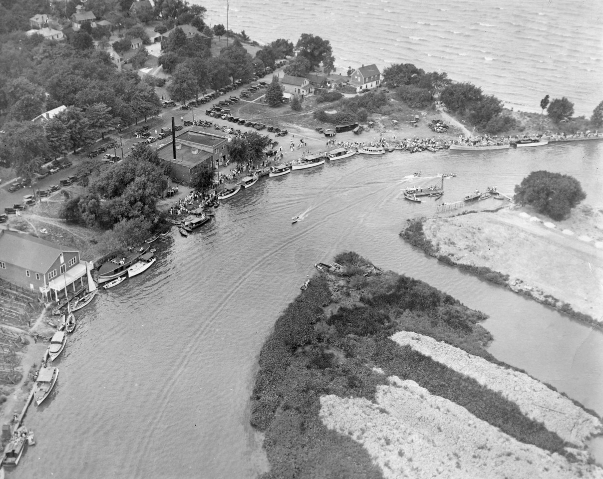 1932 South Shore Regatta, lagoons semi-finished, image taken from blimp