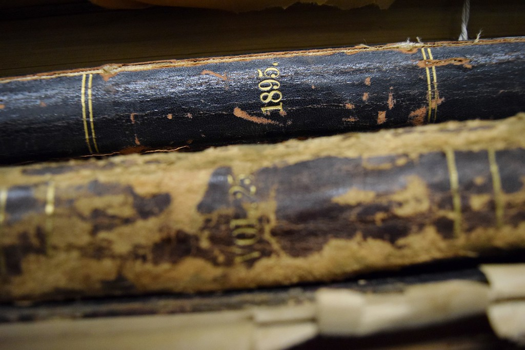 . Approximately 43 historic bound issues awaiting preservation processes at the Kresge Library at Oakland University on Tuesday, Dec. 12, 2017.