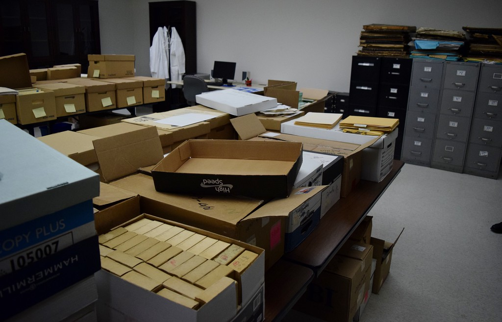 . The Oakland Press historic archive collection (boxes in foreground, cabinets) at the Kresge Library at Oakland University on Tuesday, Dec. 12, 2017.