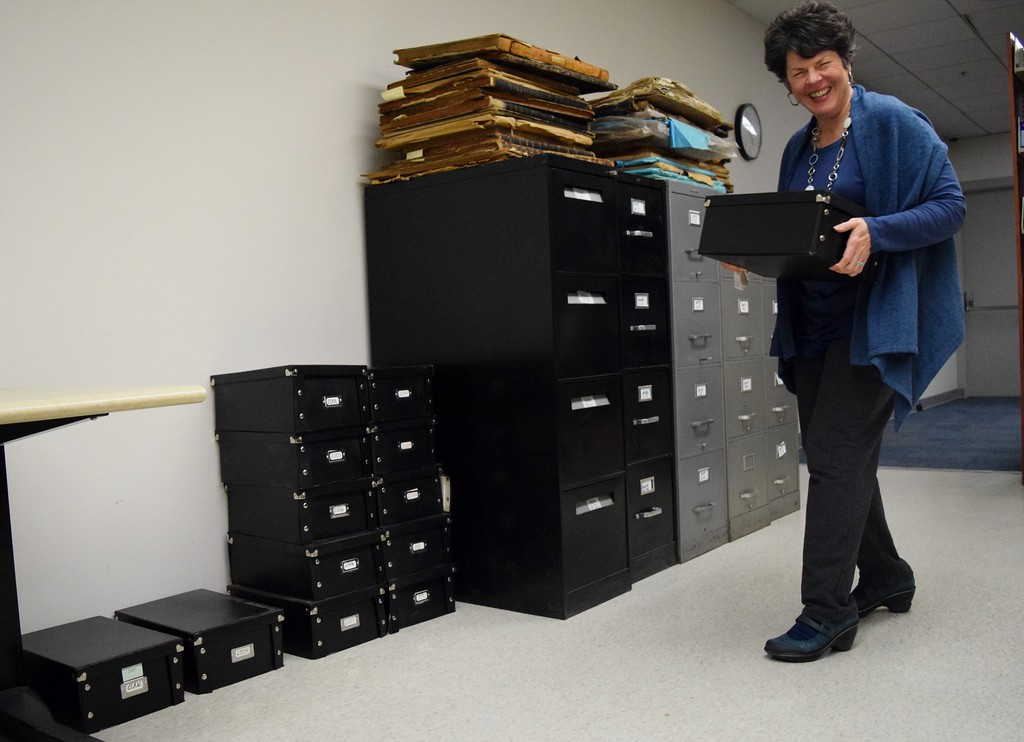 . Boxes of CD-ROMs containing thousands of photographs were given to Oakland University as a part of the archive collection gift, seen here at the Kresge Library at Oakland University on Tuesday, Dec. 12, 2017.
