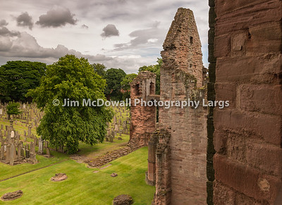 Arbroath Abbey Graveyard and ancient Ruins from High.