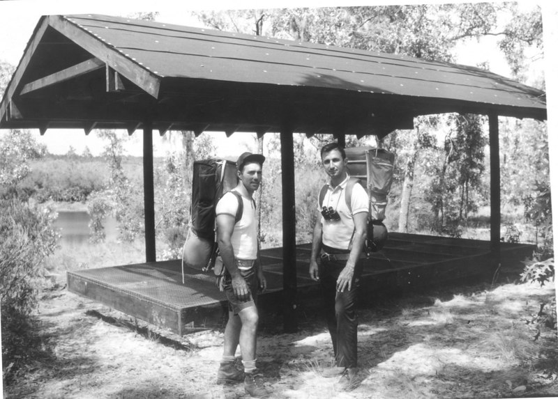 Tom Montoya (L) and Jim Kern (R) at a shelter built in Gold Head Branch State Park