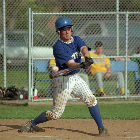 98/05/06 Near Hit *Dennis Stierer Photo - Tim Yaple of Newfane just barely gets a piece of the ball.