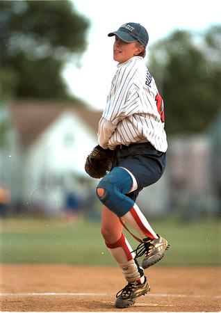98/06/04 NT Base Ball-Rachel Naber Photo-North Tonawanda pitcher Melissa Burgasser with the wind up.