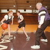 97/01/08 NU Girls BB - James Neiss Photo - Niagara University Womans Basket Ball team members L-R Shannon Graham, Annie Kubek and Head Coach Bill Agronin do work during practice.