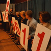 "98/11/06 Victory Luncheon United Way - Vino Wong Photo - United Way of Niagara's members join together to reveal the final amount of money raised during the ""Lives Change when Community Cares"" victory luncheon at the Niagara Falls Convention Center Friday."