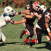 97/10/10- HS football 2--takaaki iwabu photo-- NW's Nick Condino scores a touch down in the second Q. of the game.