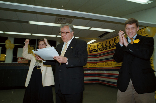 98/11/03 John LaFalce - James Neiss Photo - Lafalce family celebrate wile reading numbers as they come in at their Sheridan Drive Campaign HQ. L-R , Wife, Pat, Congressman John LaFalce and son Martin.