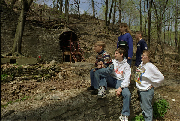 98/04/18 New Cave Area *Dennis Stierer photo - The Arlington Family was out near the Lockport Cave area to check out where some of the new work is to be done around the entrance area. From left are James, 7; Dad-John; Jennifer, 10;  John Jr. 12, and Mom- Carol.