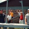 7/11/97- Wheatfield picnic --Takaaki Iwabu photo-- Members of Wheatfield's Recreation Dept. are preparing for Town's picnic. From left, Tim Herman, Gloria Lariccia; parks director, Doug Meissner, Brian Shaffer, James Heuer; Chairman of picnic, and Brent Tylec. <br /> <br /> tmc photo