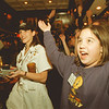"97/12/05--Good days/S Times--Takaaki Iwabu photo-- Samantha Poblete, 10, Amharst, sings ""YMCA"" with other participants of Campers Good Days and Specail Times as they dined Hard Rock Cafe Niagara Falls Friday night."