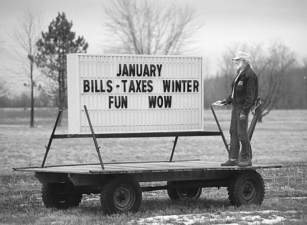 1/22/97 Road Sign - James Neiss Photo - Fred Lampman of Willow Rd., Wilson (Also The town Justice) was happy with his message board which is placed along Rt 425 just north of Willow. Said  people get a kick out of his messages, he even advertises charitable events.
