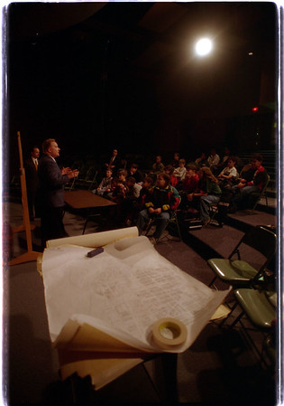 98/02/04 Rebuilding Niagara - James Neiss Photo - Students at Harry F. Abate  created there own redevelopment plan for down town Niagara Falls and met with the mayor today seeking approval.  They then asked a banker for funding which was approved in this mock development lesson.