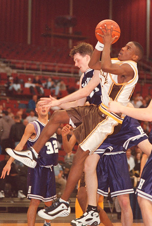 3/1/97-- LaSalle 2-- tak photo-- LaSalle Caston Binger makes a off-balance shot.