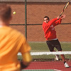 5/16/97--tennis --Takaaki Iwabu photo-- Patrick Muller, 11th grader of Niagara Wheatfield, return a serve from Chuck Gibson of LaSalle HS. Muller won the match 6-1. 6-3. (please double-check this score.)  <br /> <br /> sports, Saturday, color