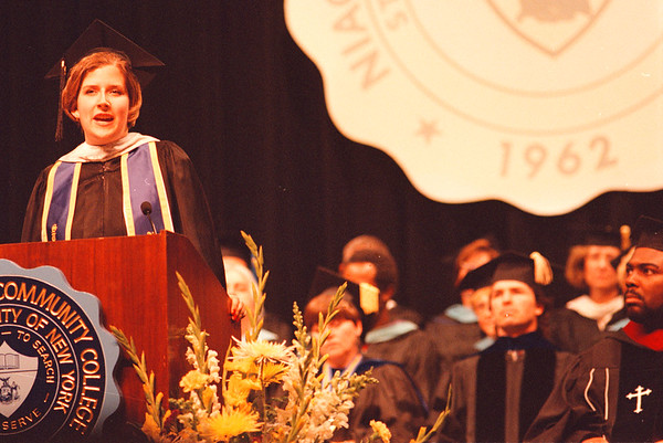 5/31/97--commencement--Takaaki Iwabu photo-- Karen Ciesielski, class of 1997, makes a speech during the commencement ceremony of Niagara County Community College Saturday. <br /> <br /> local, Sunday, color