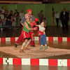 "98/02/28 Circus Boxing *Dennis Stierer photo - The exchange club circus was a ""HIT"" as Danny Sheehan 'Bugsy' and his 6 year old son, Josh ""Little Dude'  throw the punches during the annual circus."